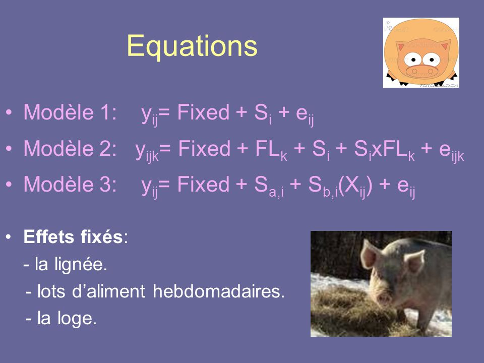 Equations Modèle 1: yij= Fixed + Si + eij