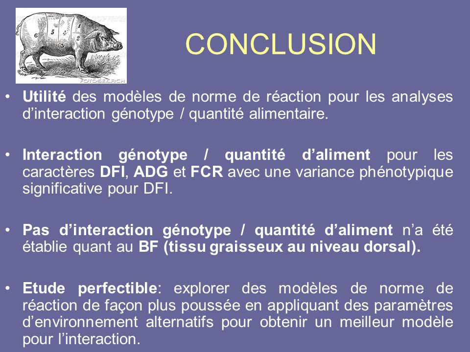 CONCLUSION Utilité des modèles de norme de réaction pour les analyses d'interaction génotype / quantité alimentaire.