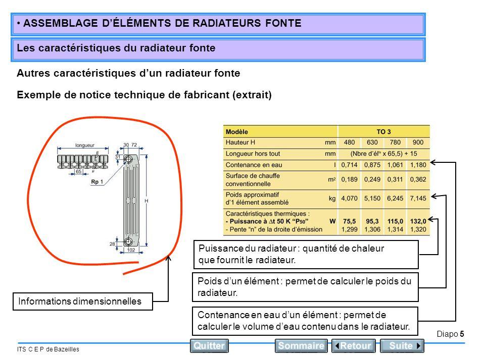 Autres caractéristiques d'un radiateur fonte