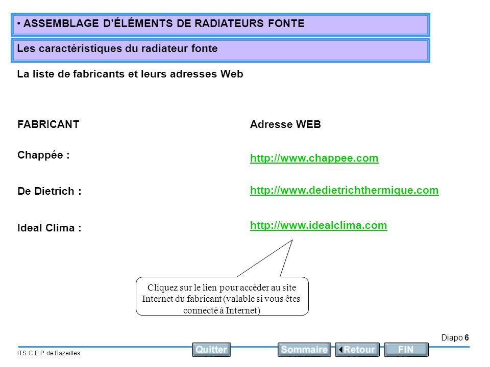 La liste de fabricants et leurs adresses Web