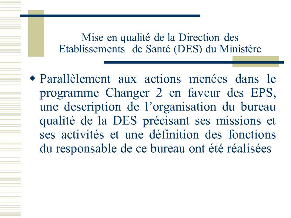 Mise en qualité de la Direction des Etablissements de Santé (DES) du Ministère