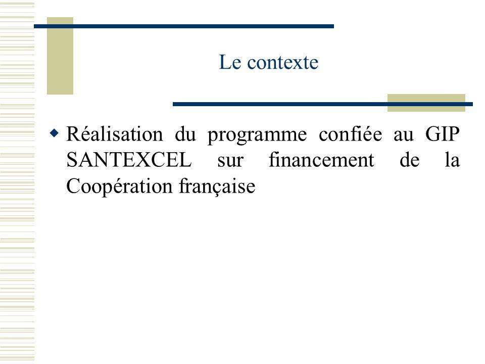 Le contexte Réalisation du programme confiée au GIP SANTEXCEL sur financement de la Coopération française.