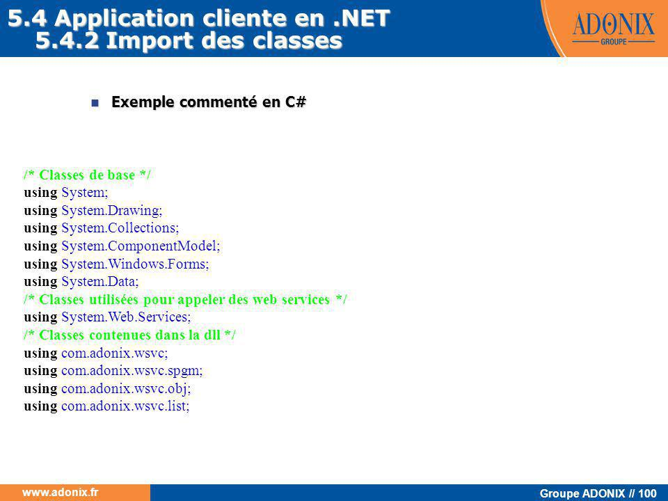 5.4 Application cliente en .NET 5.4.2 Import des classes