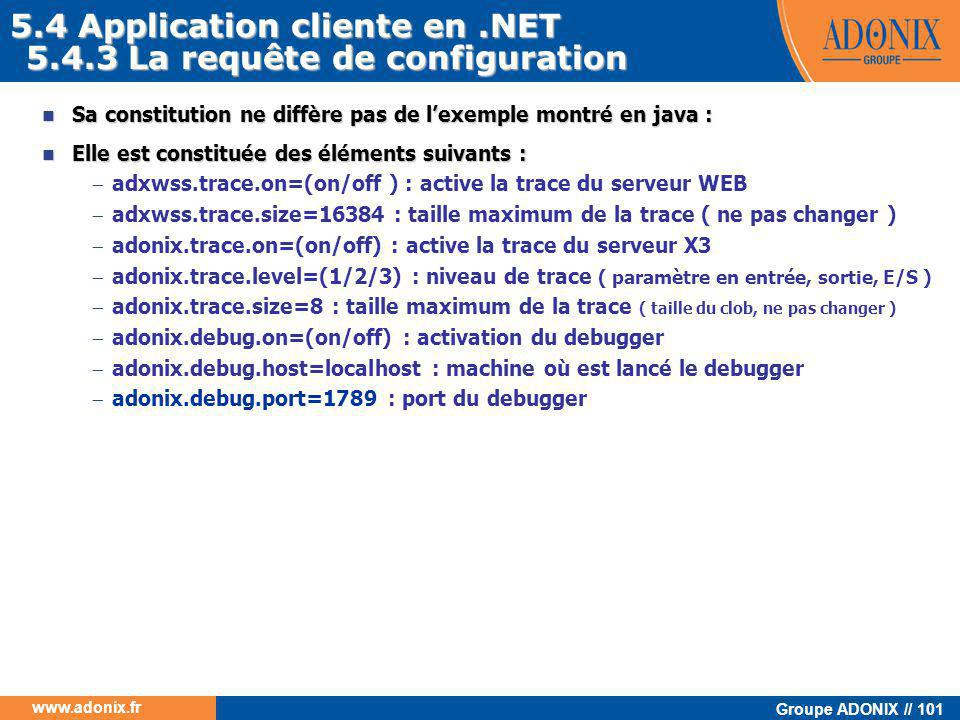 5.4 Application cliente en .NET 5.4.3 La requête de configuration