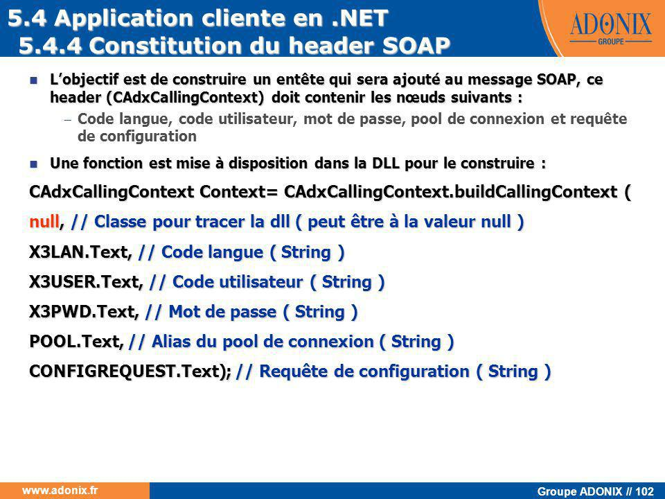 5.4 Application cliente en .NET 5.4.4 Constitution du header SOAP