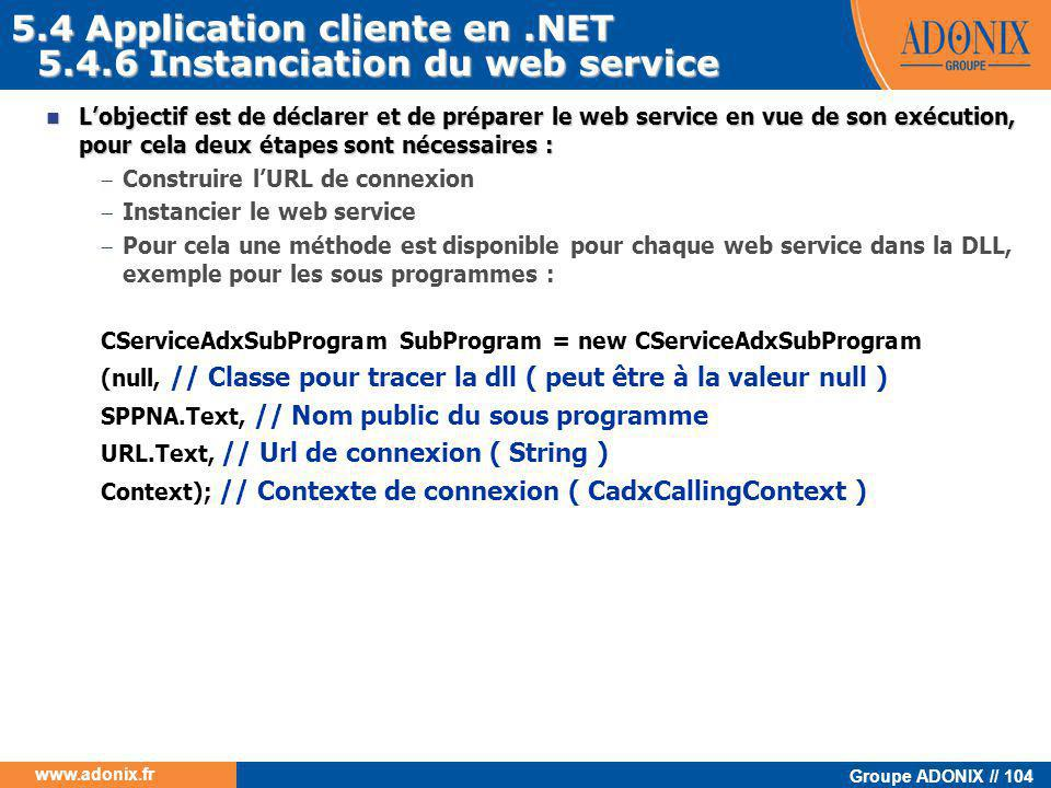 5.4 Application cliente en .NET 5.4.6 Instanciation du web service