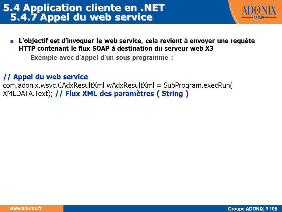 5.4 Application cliente en .NET 5.4.7 Appel du web service