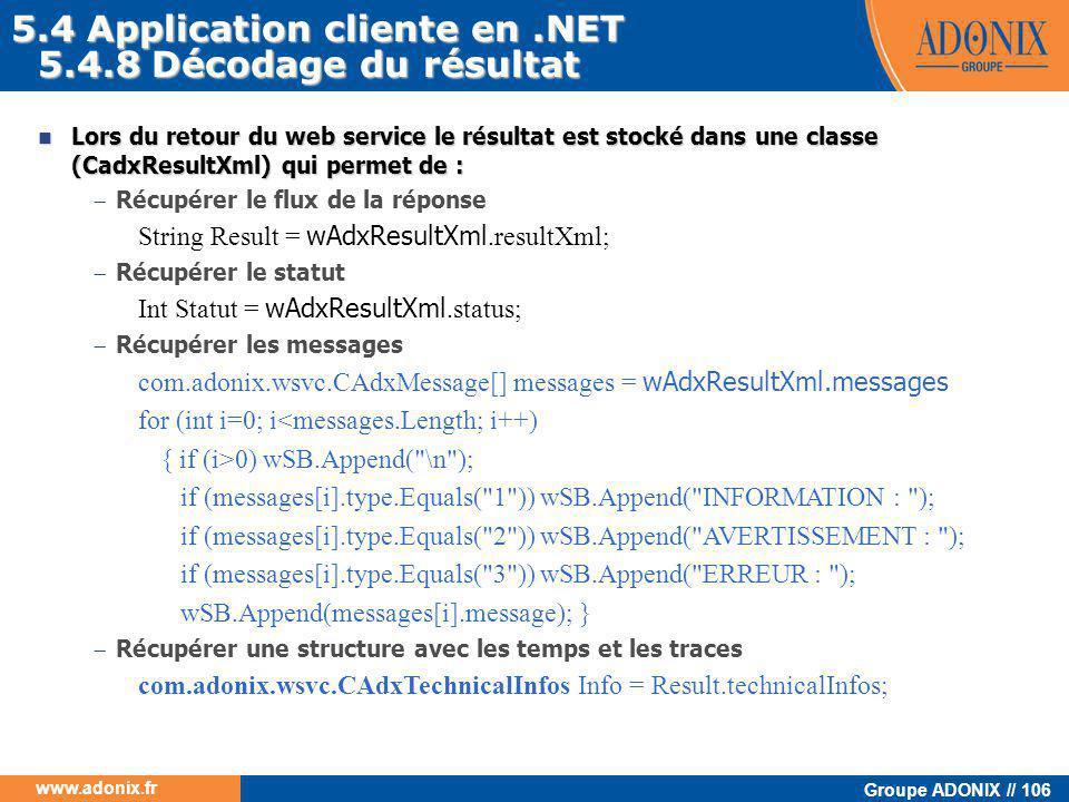 5.4 Application cliente en .NET 5.4.8 Décodage du résultat