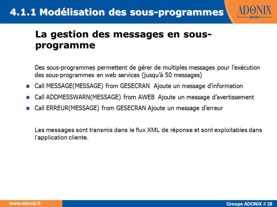 La gestion des messages en sous-programme