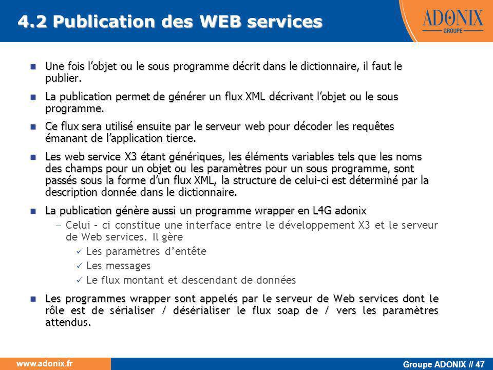 4.2 Publication des WEB services