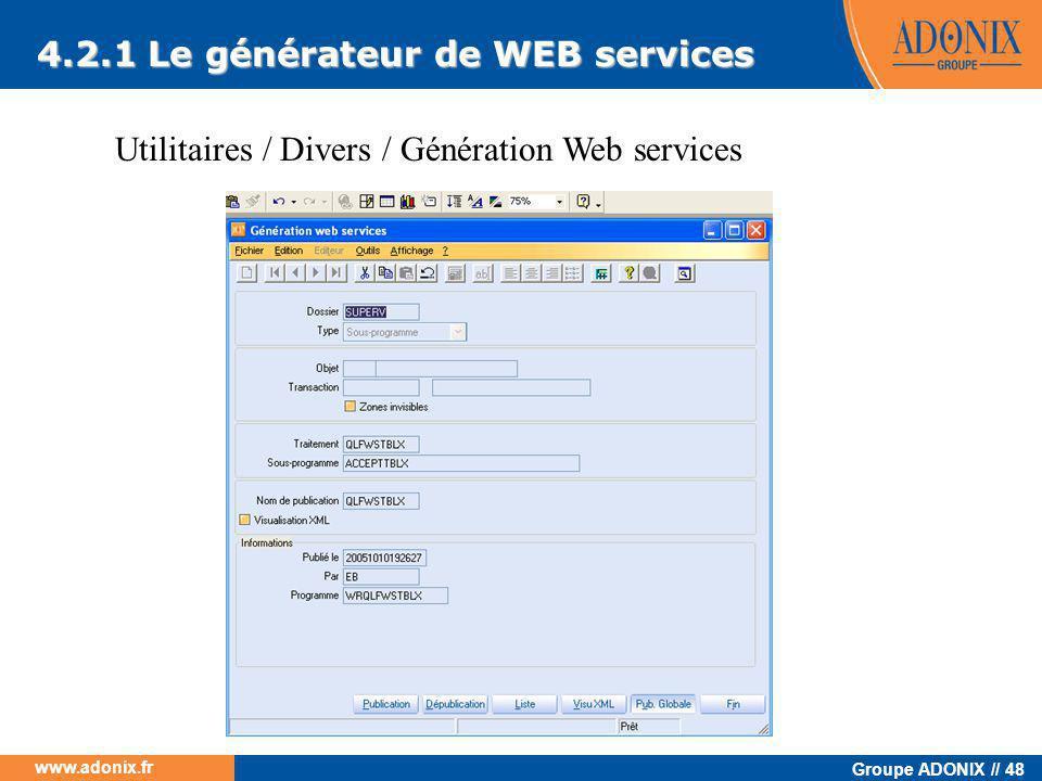 4.2.1 Le générateur de WEB services