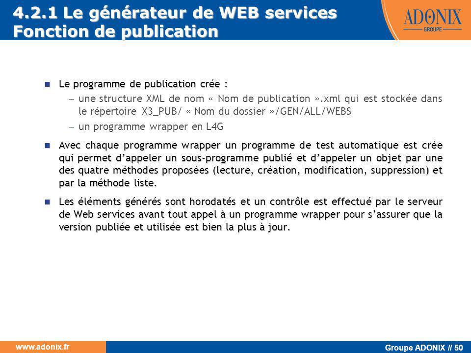 4.2.1 Le générateur de WEB services Fonction de publication