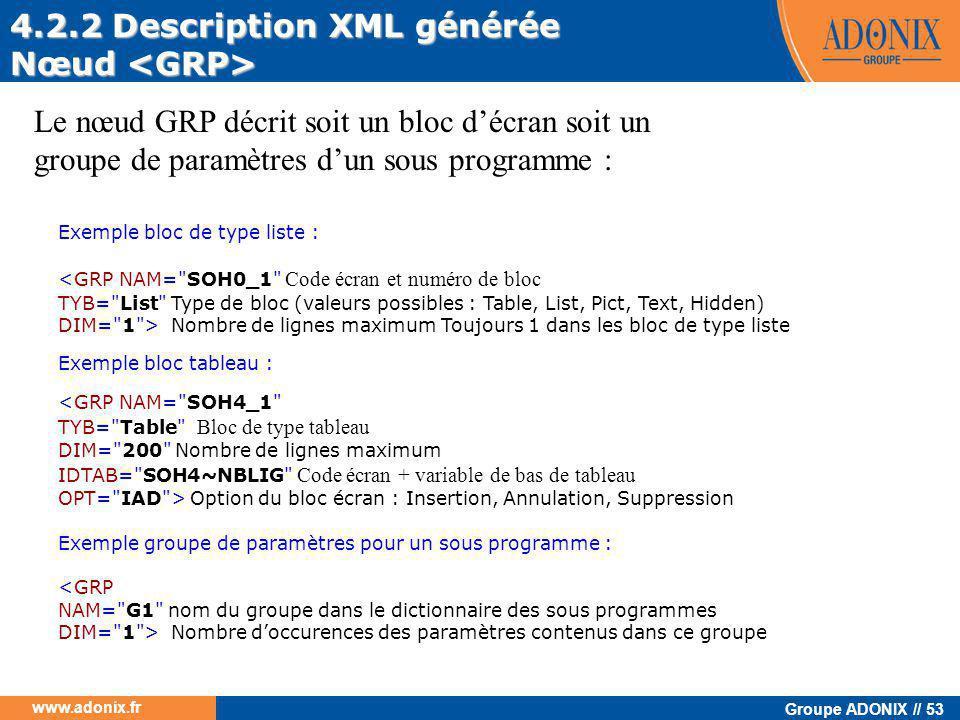 4.2.2 Description XML générée Nœud <GRP>