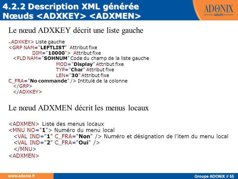 4.2.2 Description XML générée Nœuds <ADXKEY> <ADXMEN>