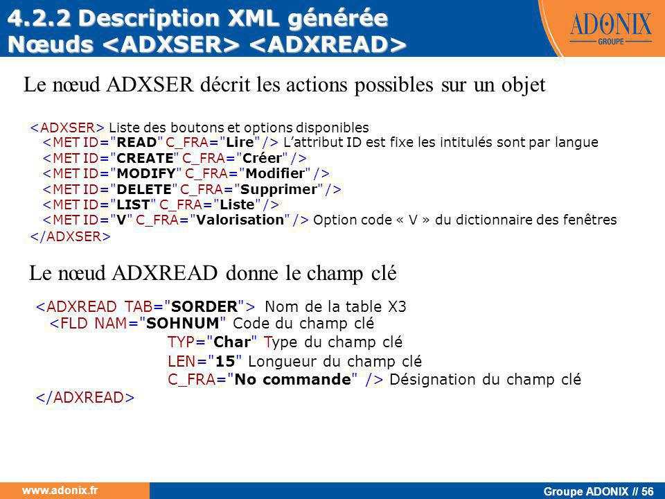 4.2.2 Description XML générée Nœuds <ADXSER> <ADXREAD>