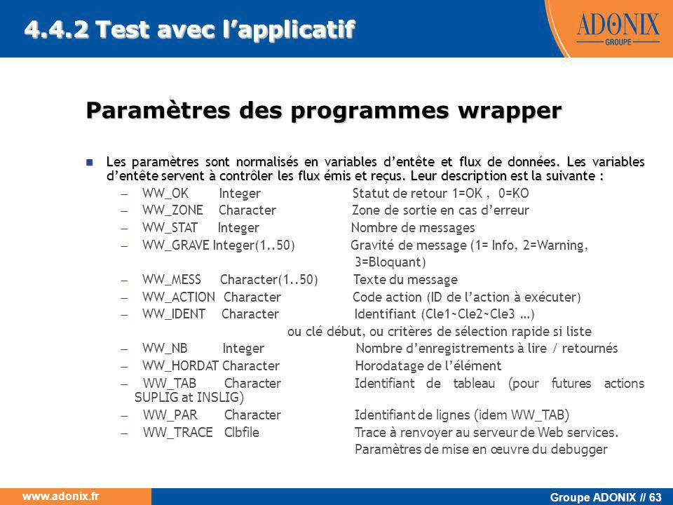 4.4.2 Test avec l'applicatif 4.4.2 Test avec l'applicatif