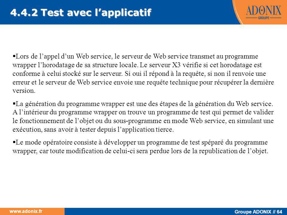 4.4.2 Test avec l'applicatif