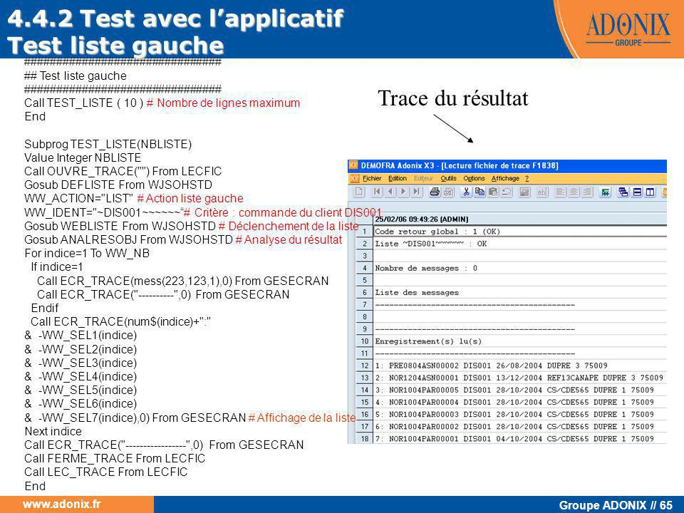 4.4.2 Test avec l'applicatif Test liste gauche