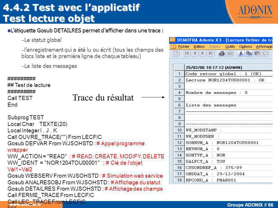 4.4.2 Test avec l'applicatif Test lecture objet