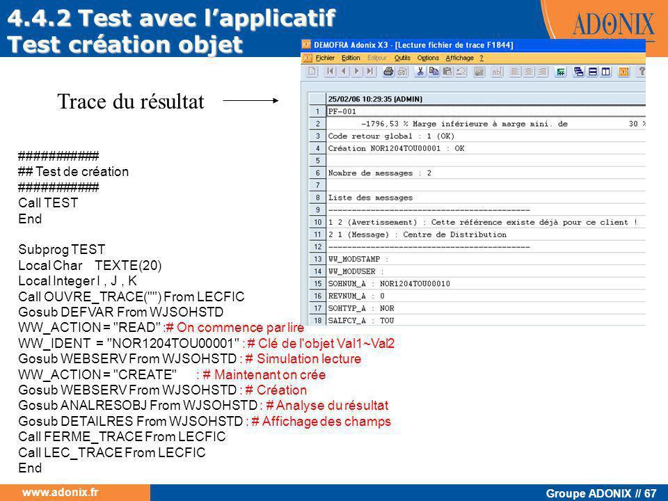 4.4.2 Test avec l'applicatif Test création objet