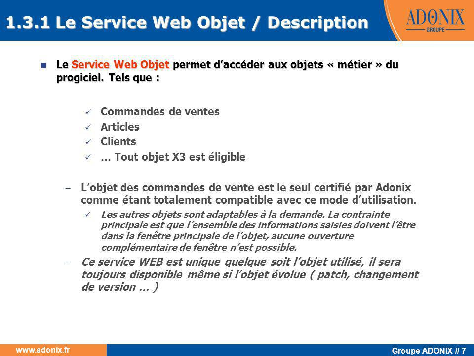 1.3.1 Le Service Web Objet / Description