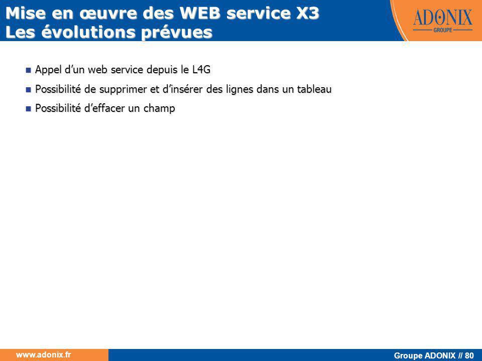 Mise en œuvre des WEB service X3 Les évolutions prévues
