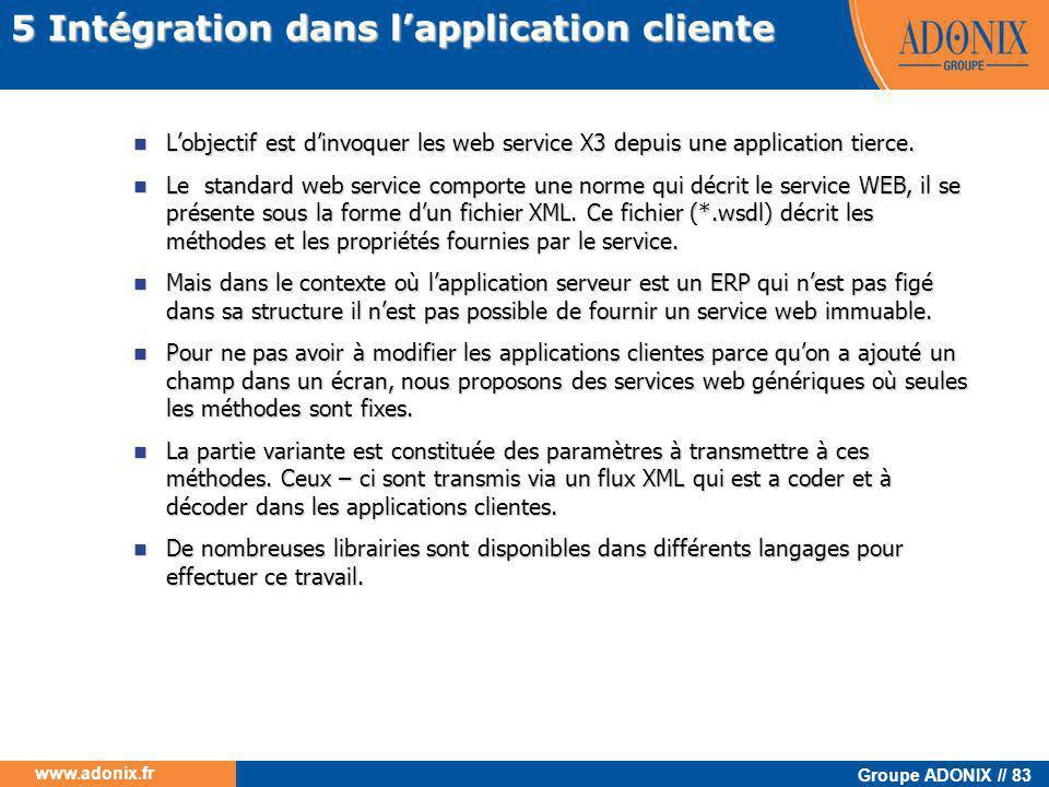 5 Intégration dans l'application cliente