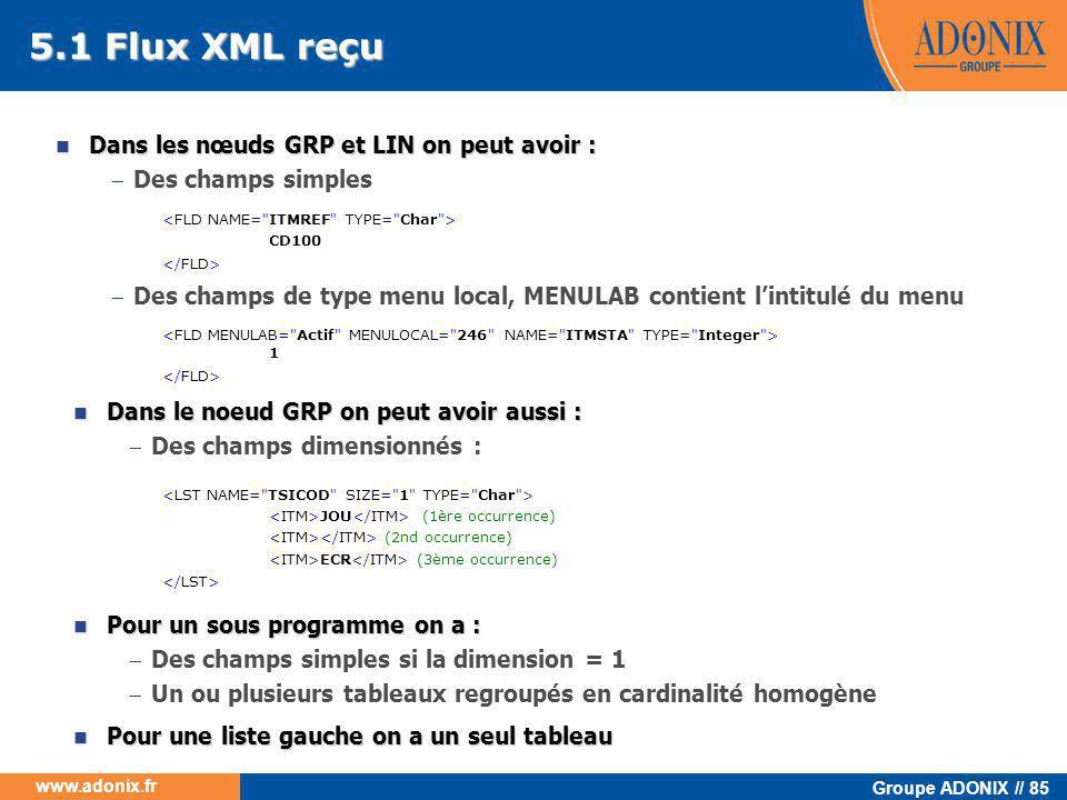 5.1 Flux XML reçu Dans les nœuds GRP et LIN on peut avoir :