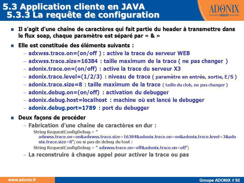 5.3 Application cliente en JAVA 5.3.3 La requête de configuration