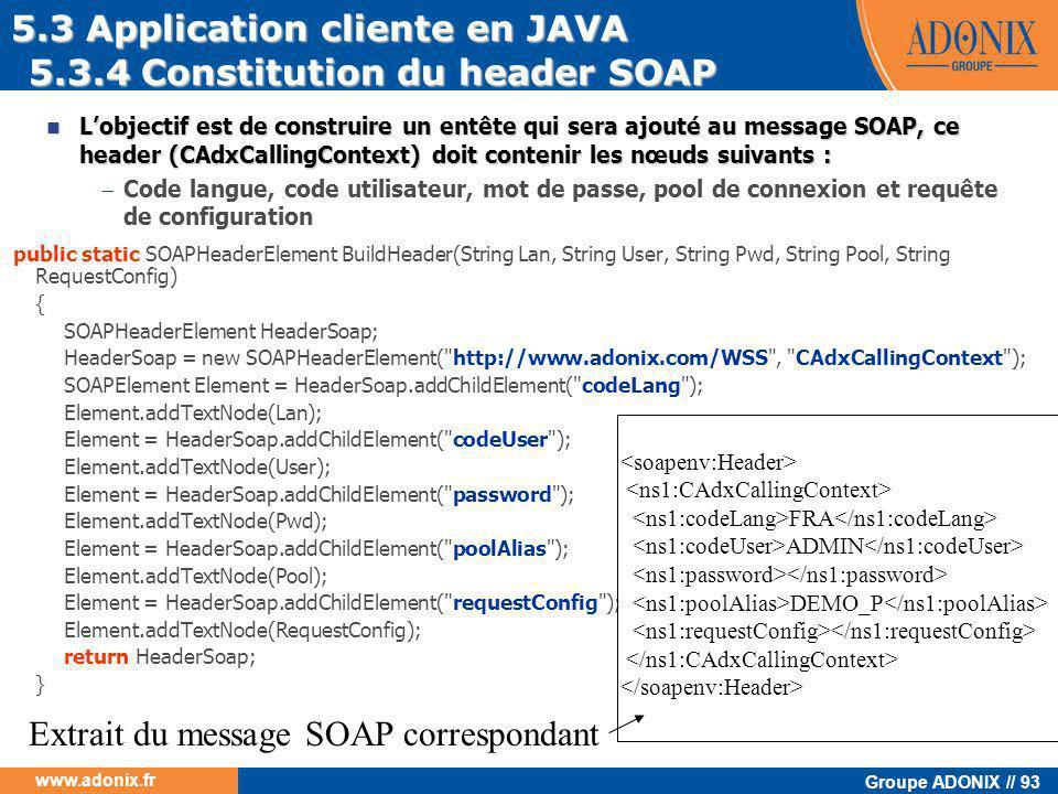 5.3 Application cliente en JAVA 5.3.4 Constitution du header SOAP
