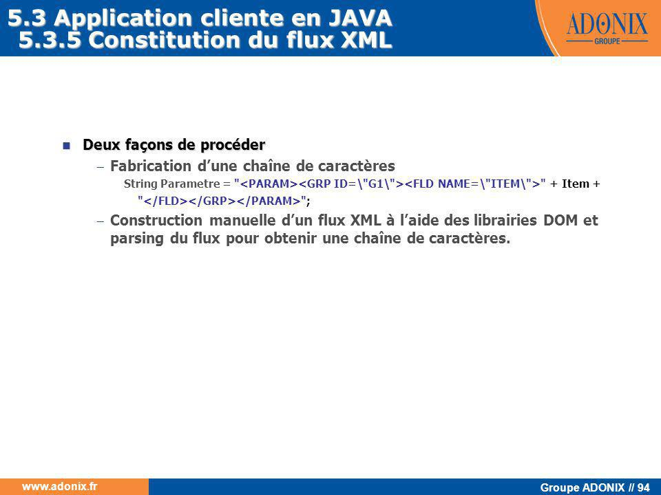 5.3 Application cliente en JAVA 5.3.5 Constitution du flux XML