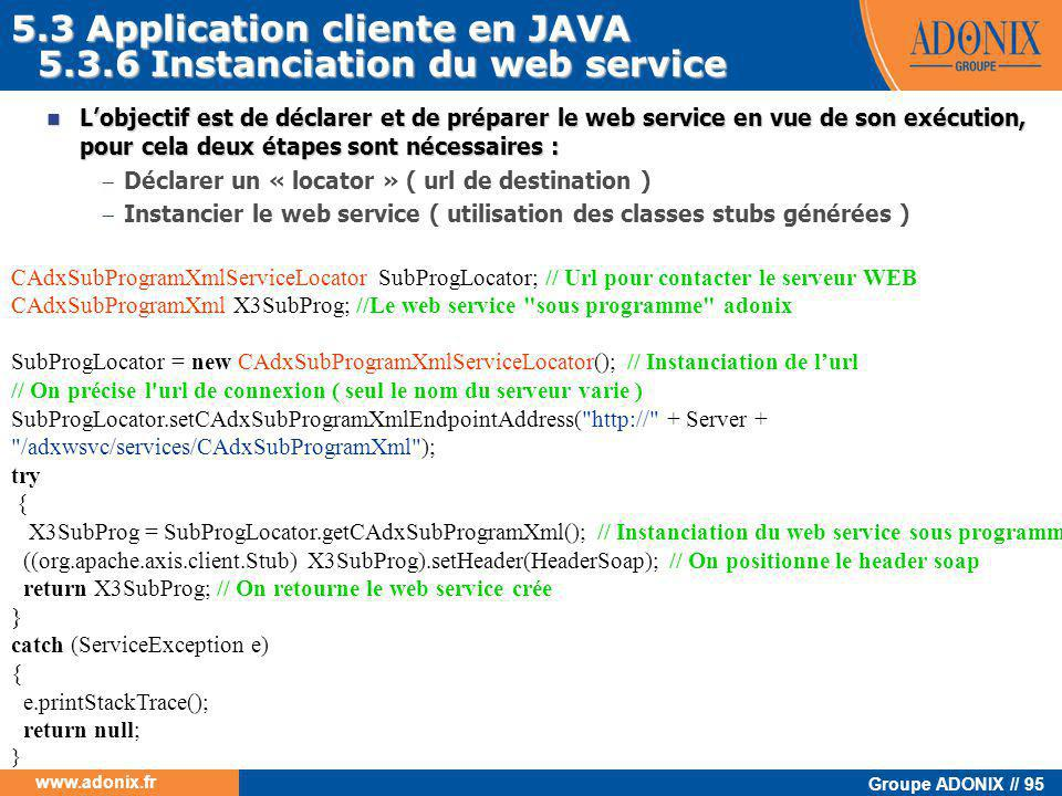 5.3 Application cliente en JAVA 5.3.6 Instanciation du web service