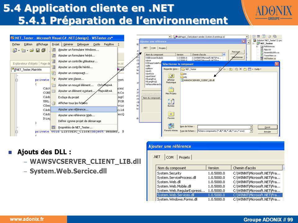 5.4 Application cliente en .NET 5.4.1 Préparation de l'environnement