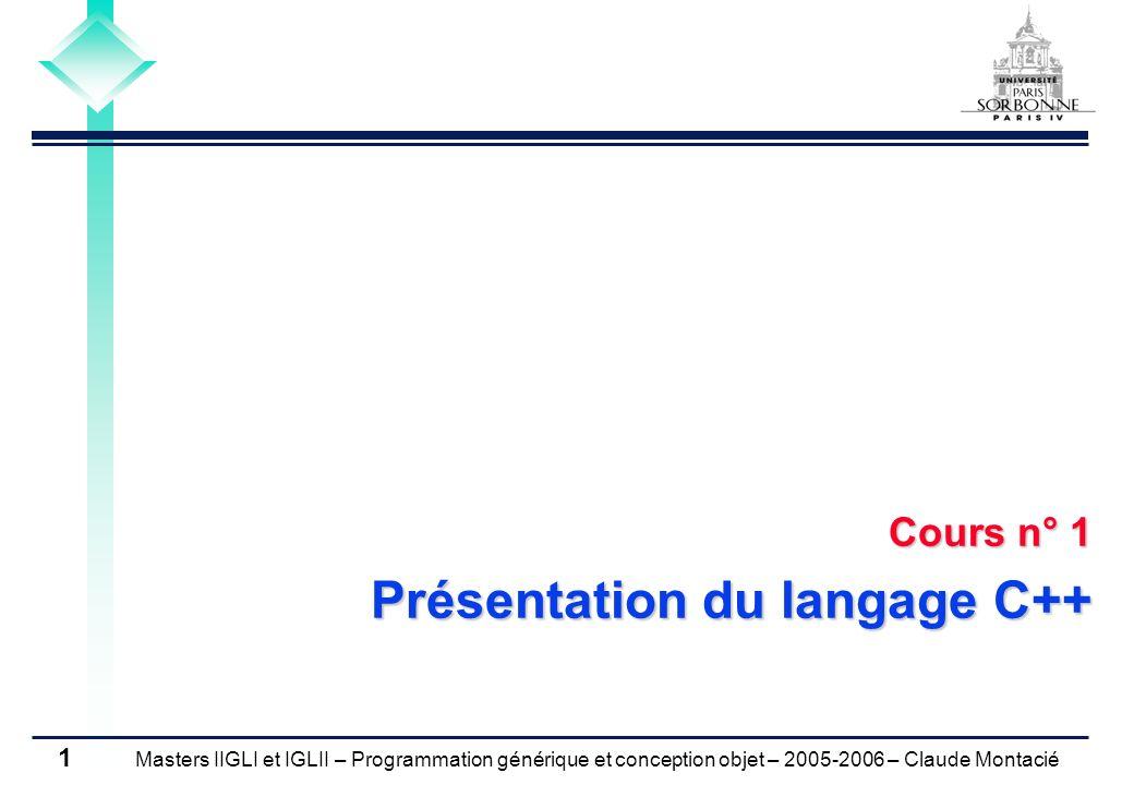 Cours n° 1 Présentation du langage C++