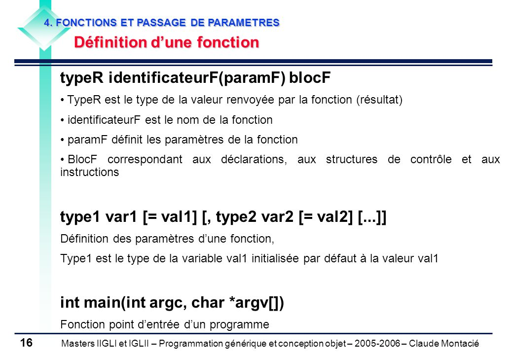 typeR identificateurF(paramF) blocF