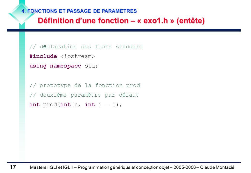 Définition d'une fonction – « exo1.h » (entête)