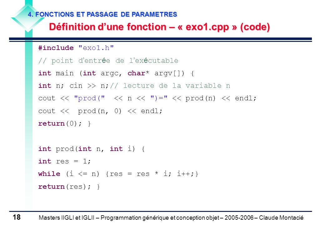 Définition d'une fonction – « exo1.cpp » (code)