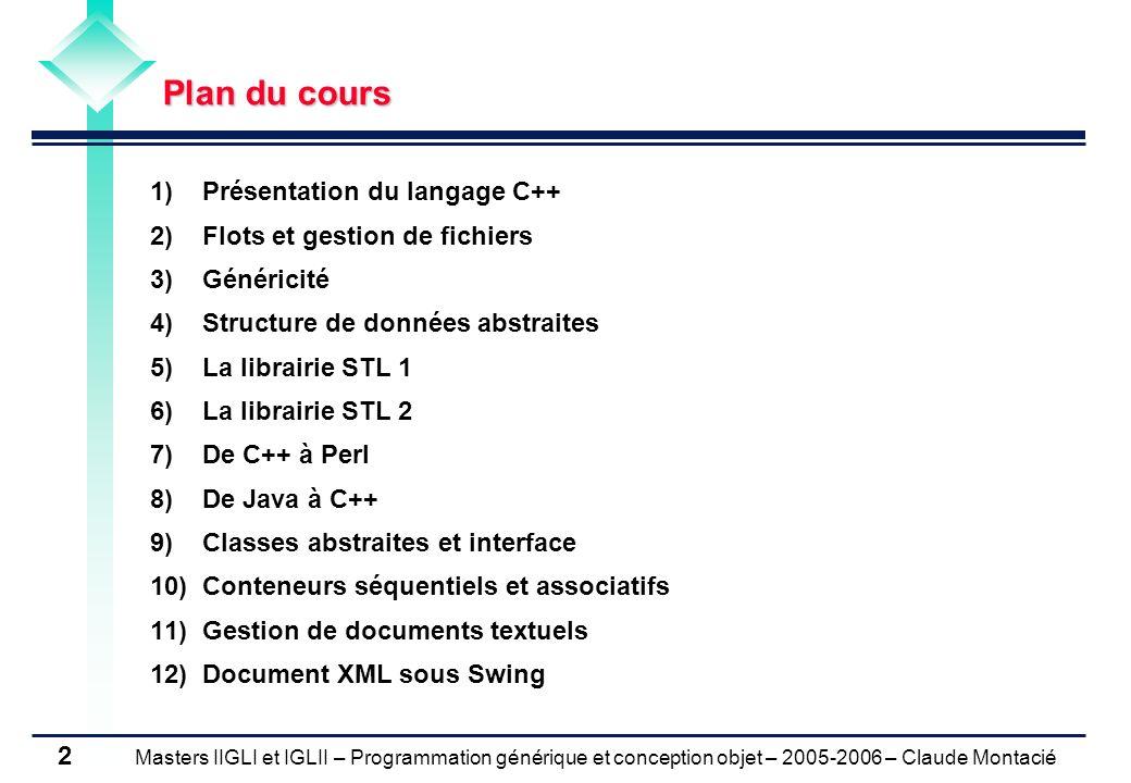Plan du cours Présentation du langage C++ Flots et gestion de fichiers. Généricité. Structure de données abstraites.