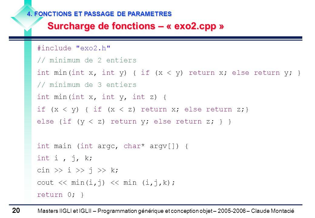 Surcharge de fonctions – « exo2.cpp »