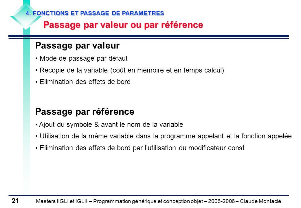 Passage par valeur Passage par référence