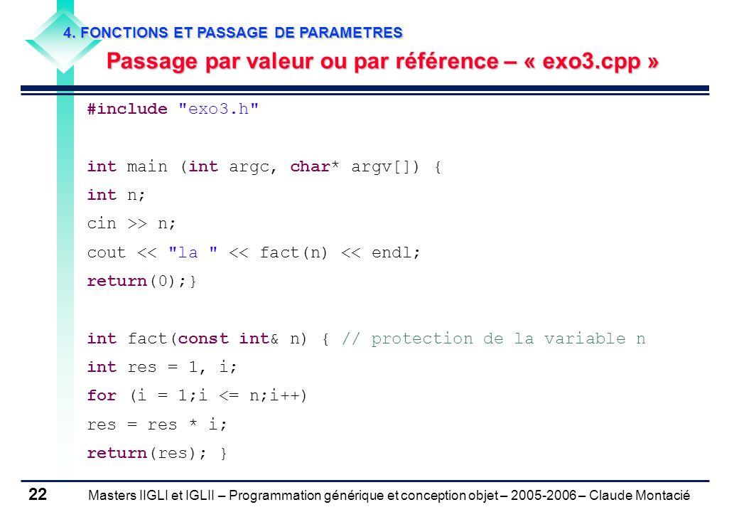 Passage par valeur ou par référence – « exo3.cpp »