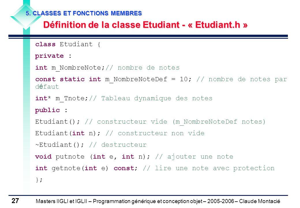 Définition de la classe Etudiant - « Etudiant.h »