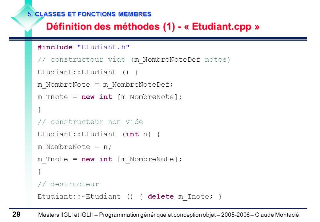 Définition des méthodes (1) - « Etudiant.cpp »