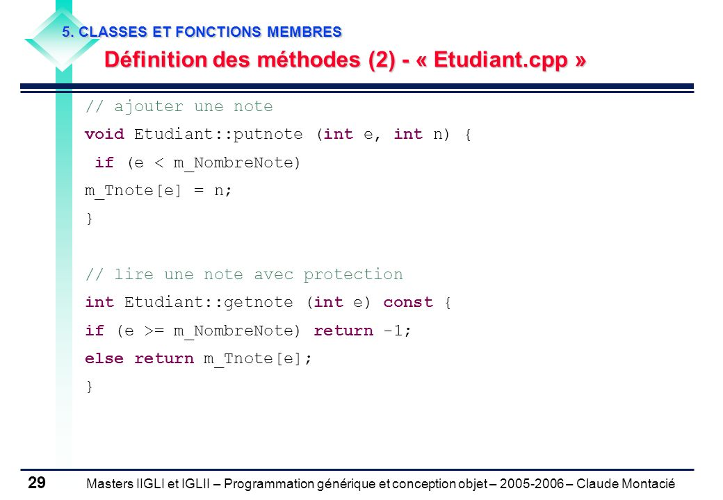 Définition des méthodes (2) - « Etudiant.cpp »