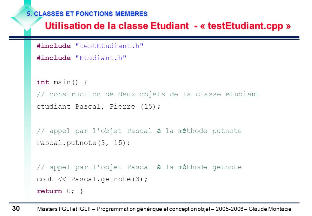 Utilisation de la classe Etudiant - « testEtudiant.cpp »