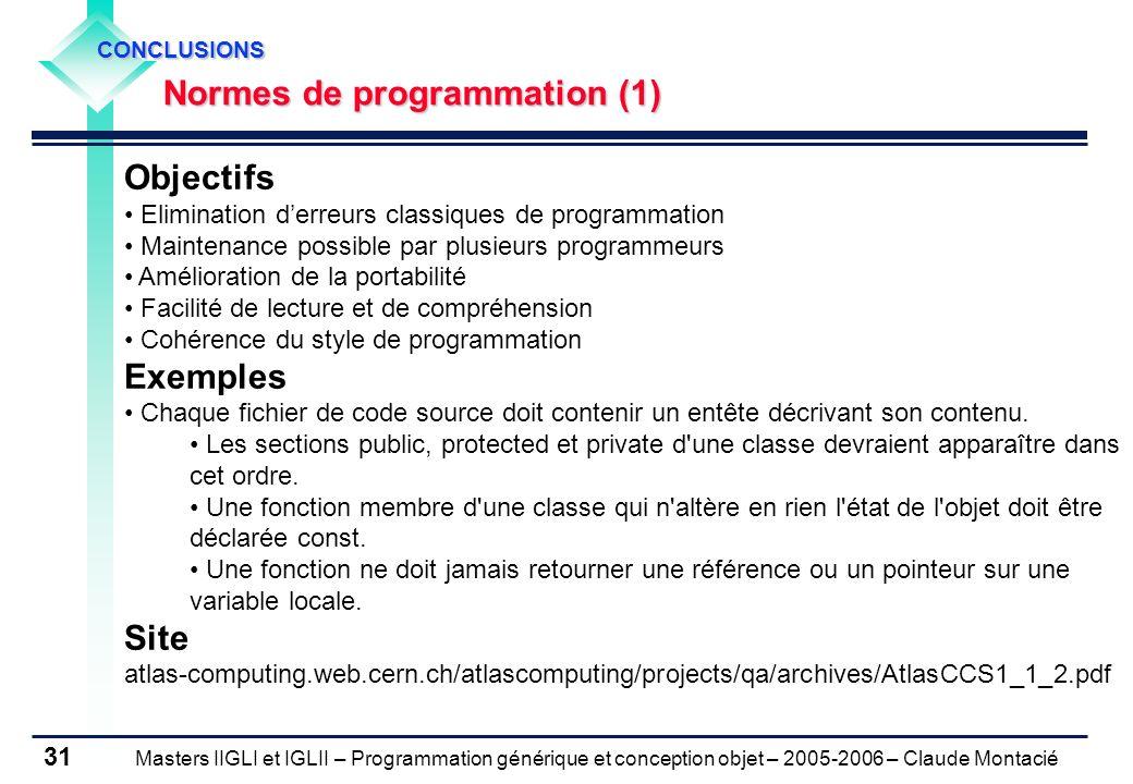 Objectifs Exemples Site Normes de programmation (1)