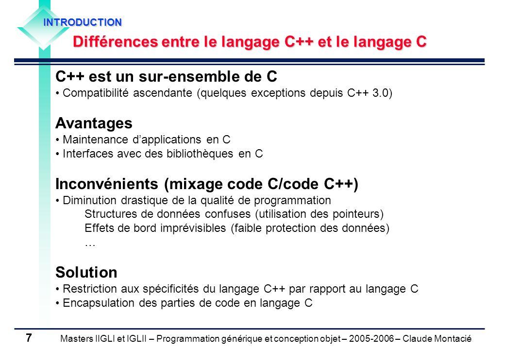 C++ est un sur-ensemble de C Avantages