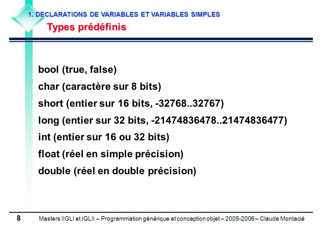 char (caractère sur 8 bits) short (entier sur 16 bits, -32768..32767)
