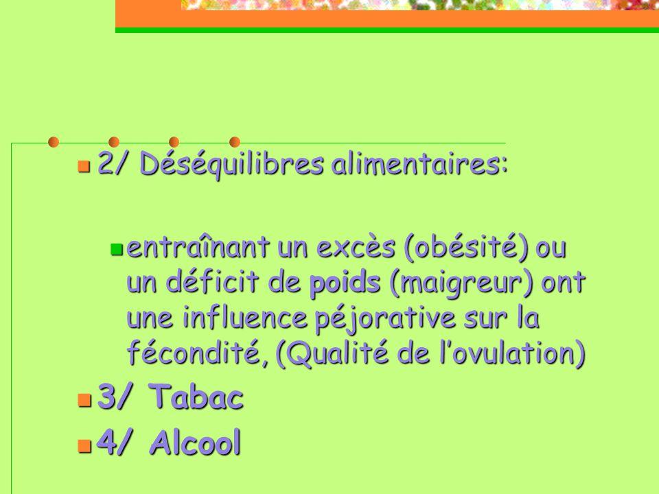 3/ Tabac 4/ Alcool 2/ Déséquilibres alimentaires: