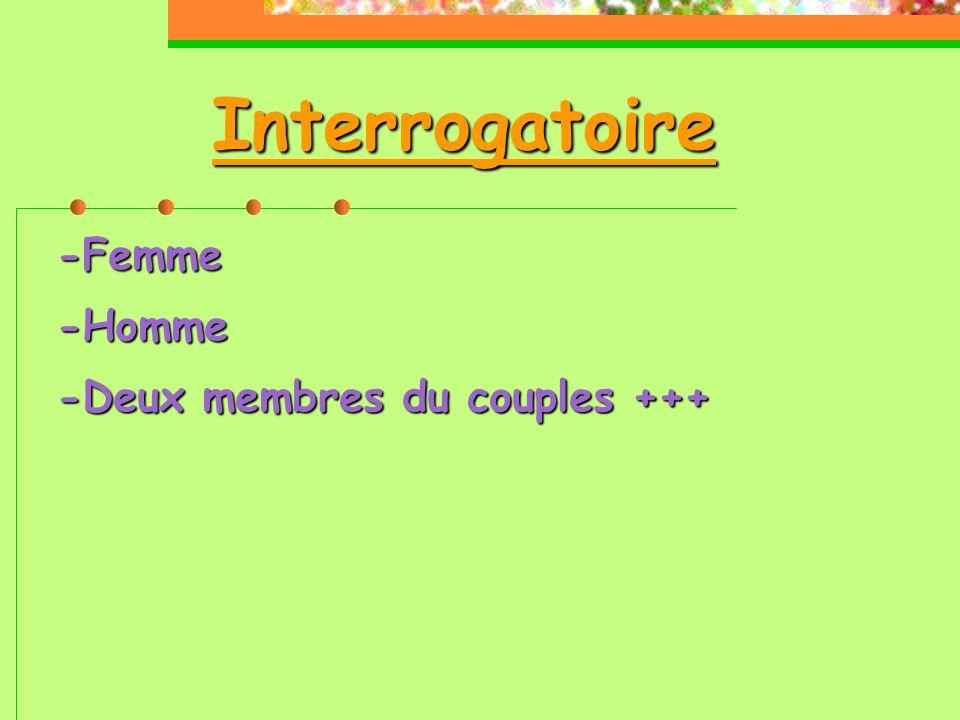 Interrogatoire -Femme -Homme -Deux membres du couples +++